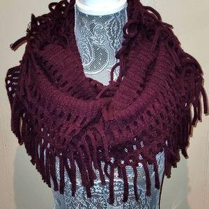 Open knit boho burgundy infinity scarf.